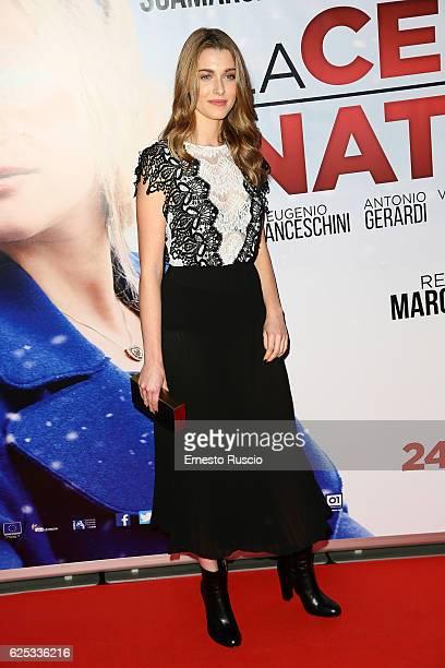 Silvia Mazzieri walks a red carpet for 'La Cena Di Natale' at Cinema Adriano on November 22 2016 in Rome Italy
