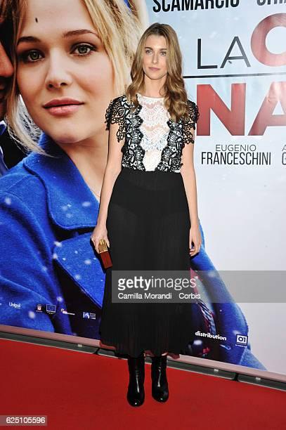 Silvia Mazzieri walks a red carpet for 'La Cena Di Natale' on November 22 2016 in Rome Italy