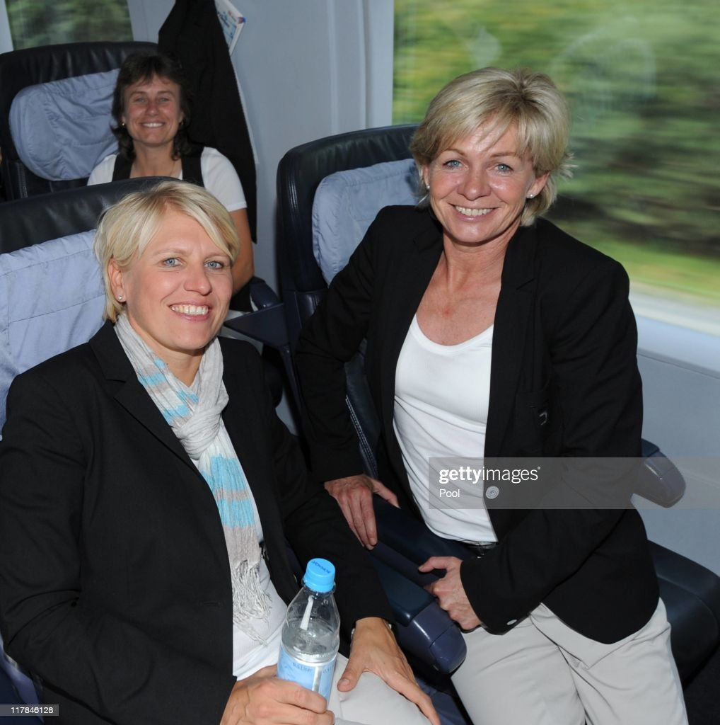 Silvia Neid head coach of Germany and Doris Fitschen team manager of Germany sit in the ICE from Frankfurt to Dusseldorf on July 1 2011 in Frankfurt...