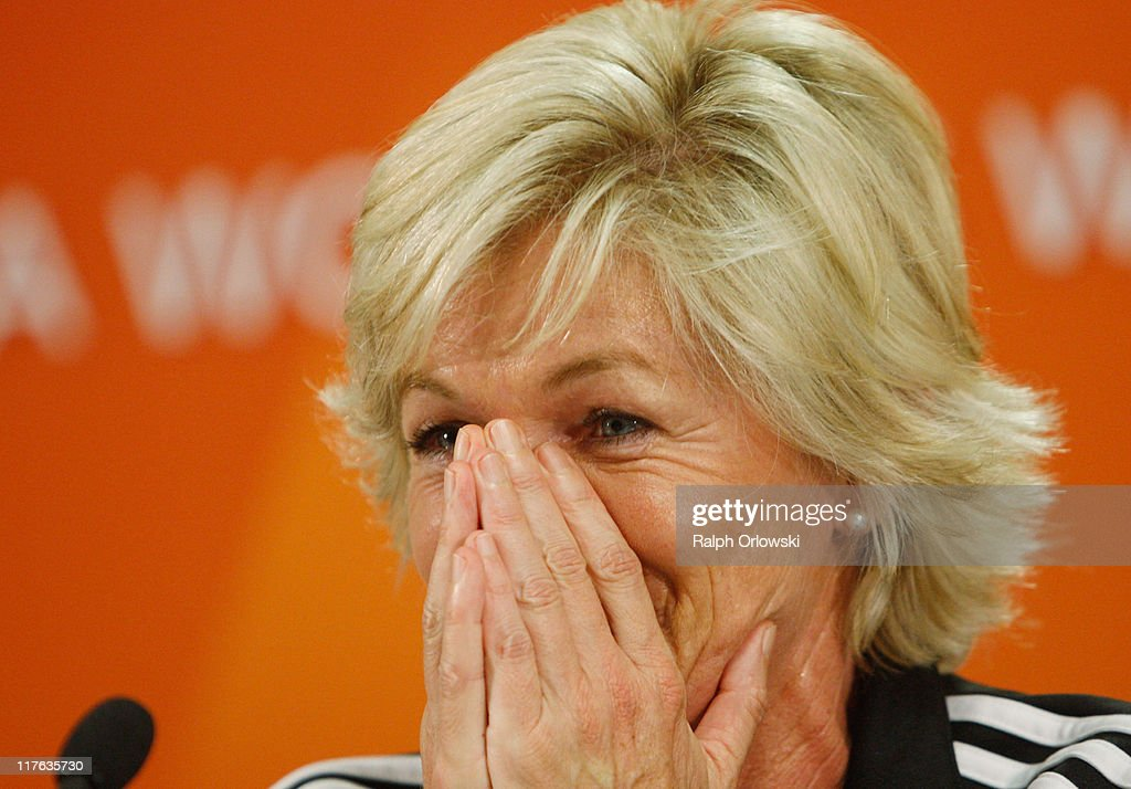 Silvia Neid head coach of Germany attends the Germany Women national team press conference at Commerzbank Arena on June 29 2011 in Frankfurt am Main...