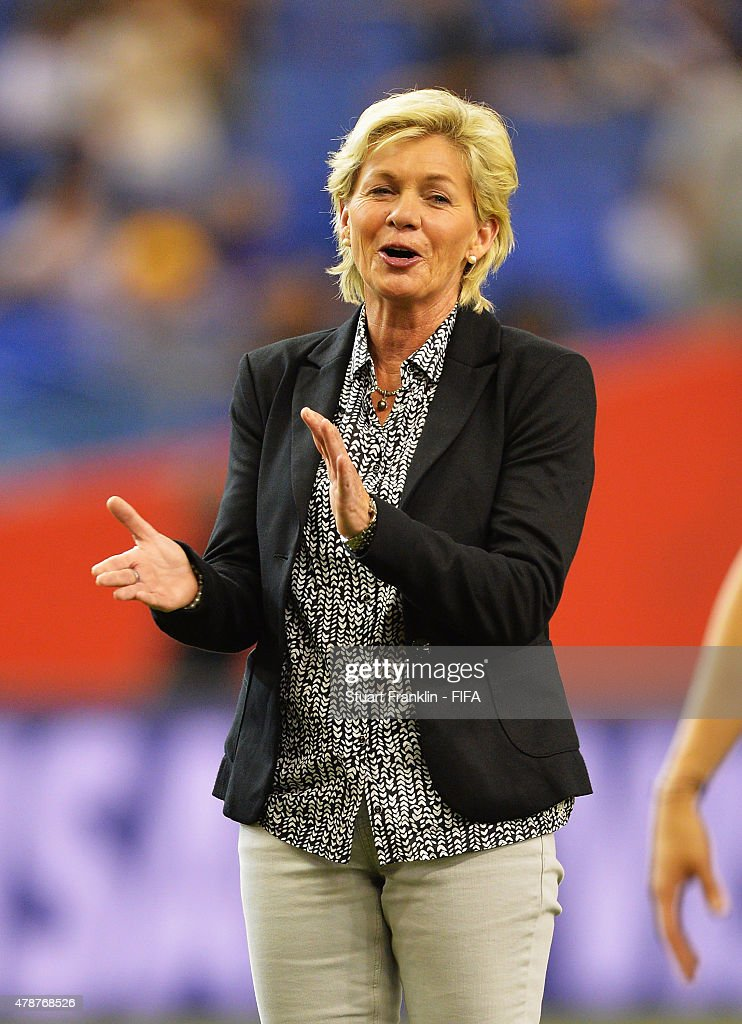 Silvia Neid, head coach of Germany claps during the quarter final match of the FIFA Women's World Cup between Germany and France at Olympic Stadium on June 26, 2015 in Montreal, Canada.