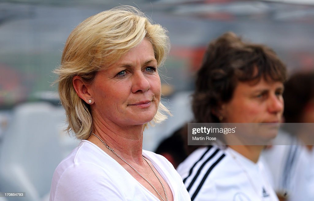 Silvia Neid, head coach of Germany looks on before the Women's International Friendly match between Germany and Canada at Benteler Arena on June 19, 2013 in Paderborn, Germany.