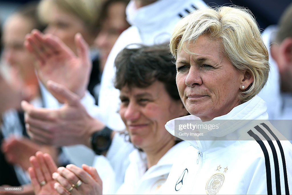 <a gi-track='captionPersonalityLinkClicked' href=/galleries/search?phrase=Silvia+Neid&family=editorial&specificpeople=641230 ng-click='$event.stopPropagation()'>Silvia Neid</a>, Head Coach of Germany looks on during the Algarve Cup 2013 match between Norway and Germany at the Estadio Municipal de Lagos on March 11, 2013 in Lagos, Portugal.