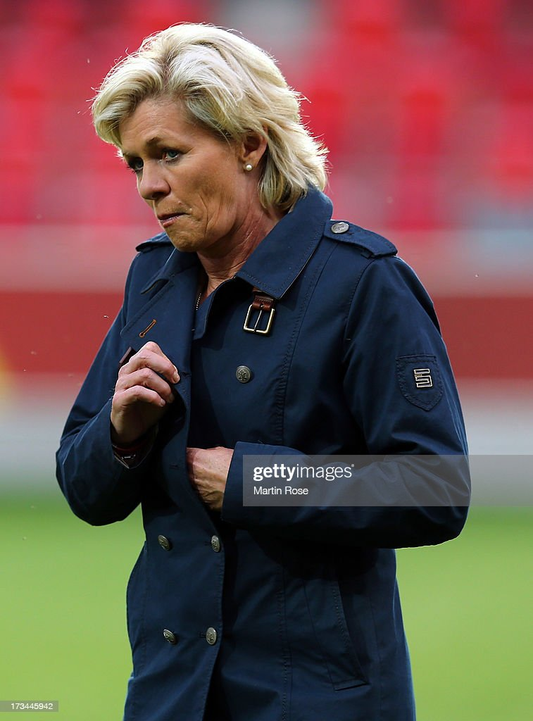 Silvia Neid, head coach of Germany reacts before the UEFA Women's Euro 2013 group B match between Iceland and Germany at Vaxjo Arena on July 14, 2013 in Vaxjo, Sweden.