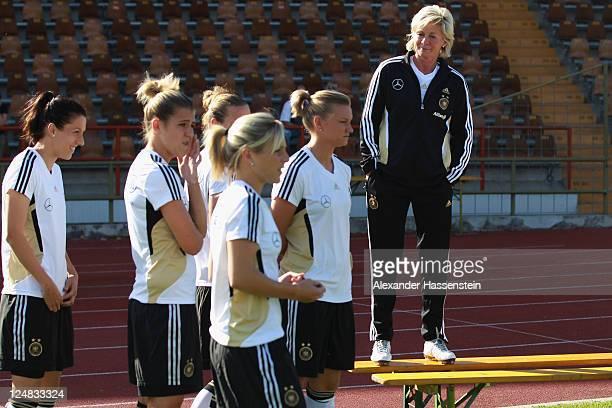 Silvia Neid head coach of team Germany looks on prior to the team presentation of the German Women's national team at Rosenau Stadium on September 13...