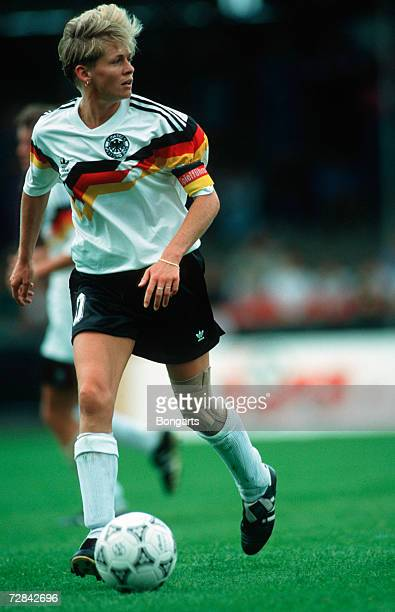 Silvia Neid of Germany in action Germany during the UEFA Women's Euro 1991 final between Norway and Germany on July 14 1991 in Aalborg Denmark