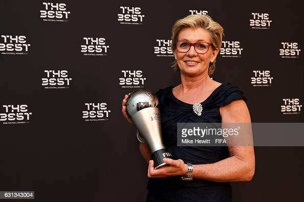 Silvia Neid of Germany poses with her The Best FIFA Women's Coach Award after The Best FIFA Football Awards at TPC Studio on January 9 2017 in Zurich...