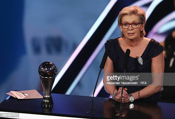 Silvia Neid of Germany talks on stage after accepting The Best FIFA Women's Coach Award during The Best FIFA Football Awards at TPC Studio on January...