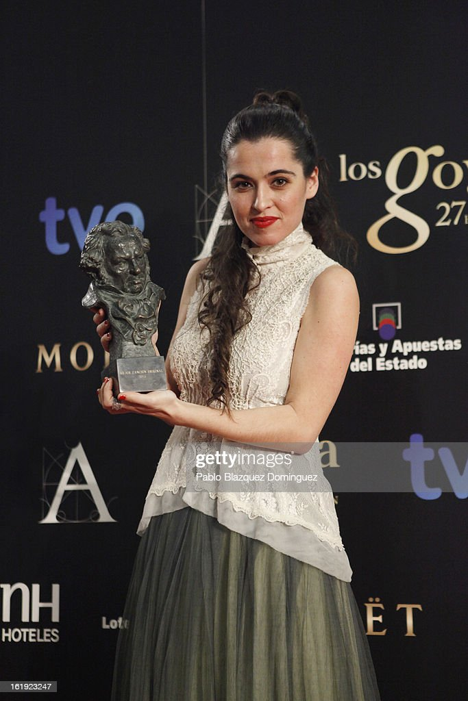 Silvia Perez Cruz holds her award for Best Original Song in the film 'Blancanieves' during the 2013 edition of the 'Goya Cinema Awards' ceremony at Centro de Congresos Principe Felipe on February 17, 2013 in Madrid, Spain.