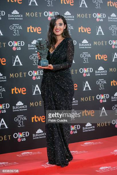 Silvia Perez Cruz holds the award for best original song award during the 31st edition of the Goya Cinema Awards at Madrid Marriott Auditorium on...