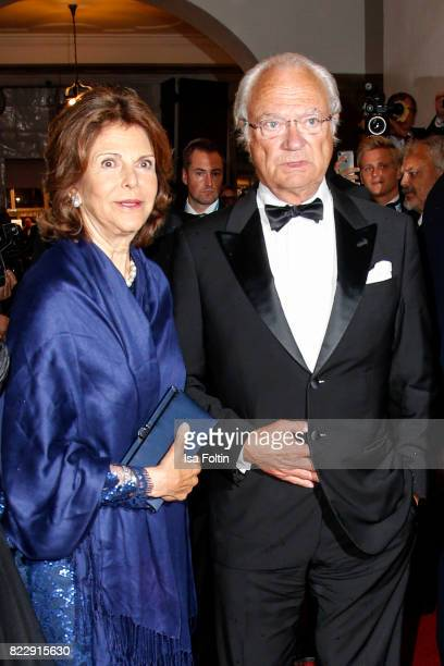 Silvia Queen of Sweden and her husband Carl XVI Gustaf King of Sweden during the Bayreuth Festival 2017 State Reception on July 25 2017 in Bayreuth...