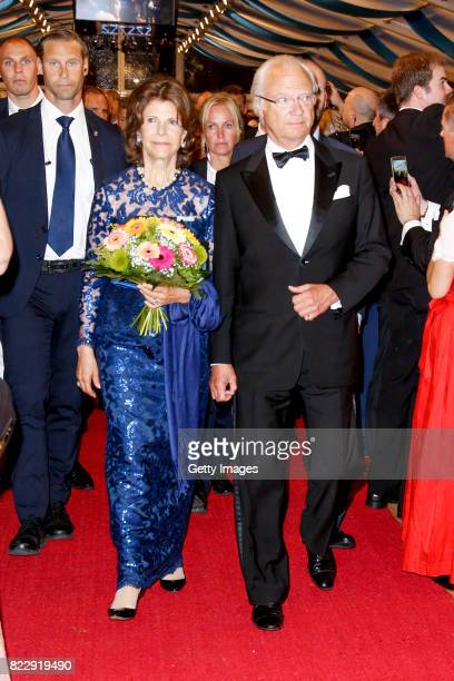 Silvia Queen of Sweden and her husband Carl XVI Gustaf King of Sweden during the Bayreuth Festival 2017 State Reception at Neues Schloss on July 25...
