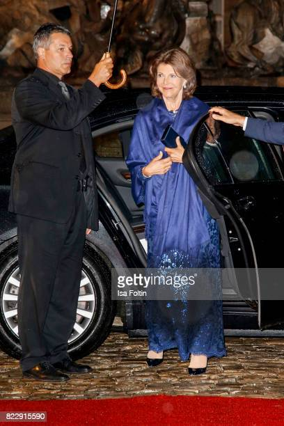 Silvia Queen of Sweden arrives at the Bayreuth Festival 2017 State Reception on July 25 2017 in Bayreuth Germany