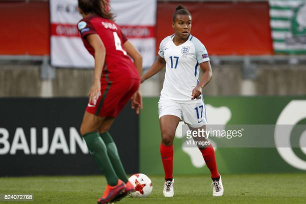 Silvia Rebelo of Portugal women Nikita Parris of England women during the UEFA WEURO 2017 Group D group stage match between Portugal and England at...