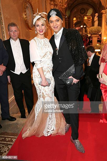 Silvia Schneider girlfriend of Andreas Gabalier and Julian FM Stoeckel during the Opera Ball Vienna 2016 at Vienna State Opera on February 4 2016 in...