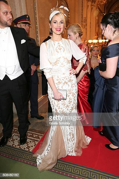 Silvia Schneider girlfriend of Andreas Gabalier wearing a white dress designed by herself during the Opera Ball Vienna 2016 at Vienna State Opera on...