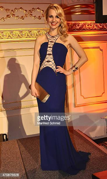 Silvia Schneider poses during the ROMY 2015 Academy Award at Hofburg Vienna on April 23 2015 in Vienna Austria