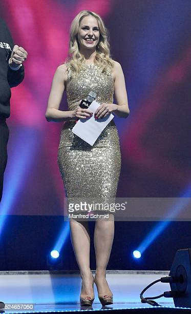 Silvia Schneider speaks to the audience during the presentation of the tv show '4Gamechanger' at Marx Halle on April 26 2016 in Vienna Austria