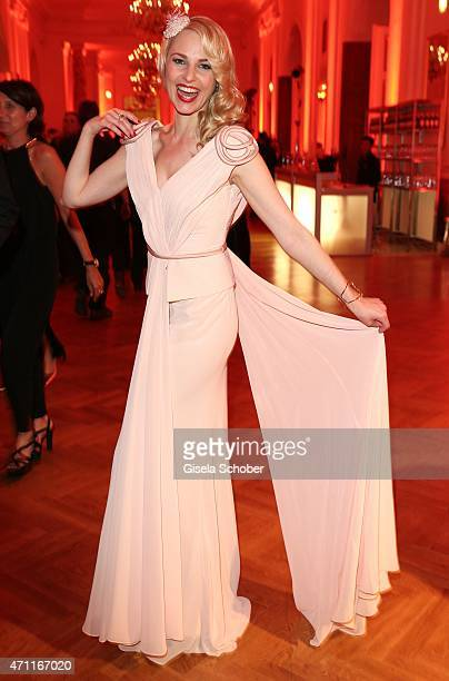 Silvia Schneider wearing a dress designed by herself during the 26th ROMY Award 2015 at Hofburg Vienna on April 25 2015 in Vienna Austria