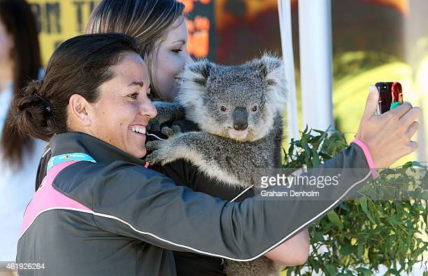 Silvia Soler Espinosa of Spain takes a selfie with a koala during the 2015 Australian Open at Melbourne Park on January 22 2015 in Melbourne Australia