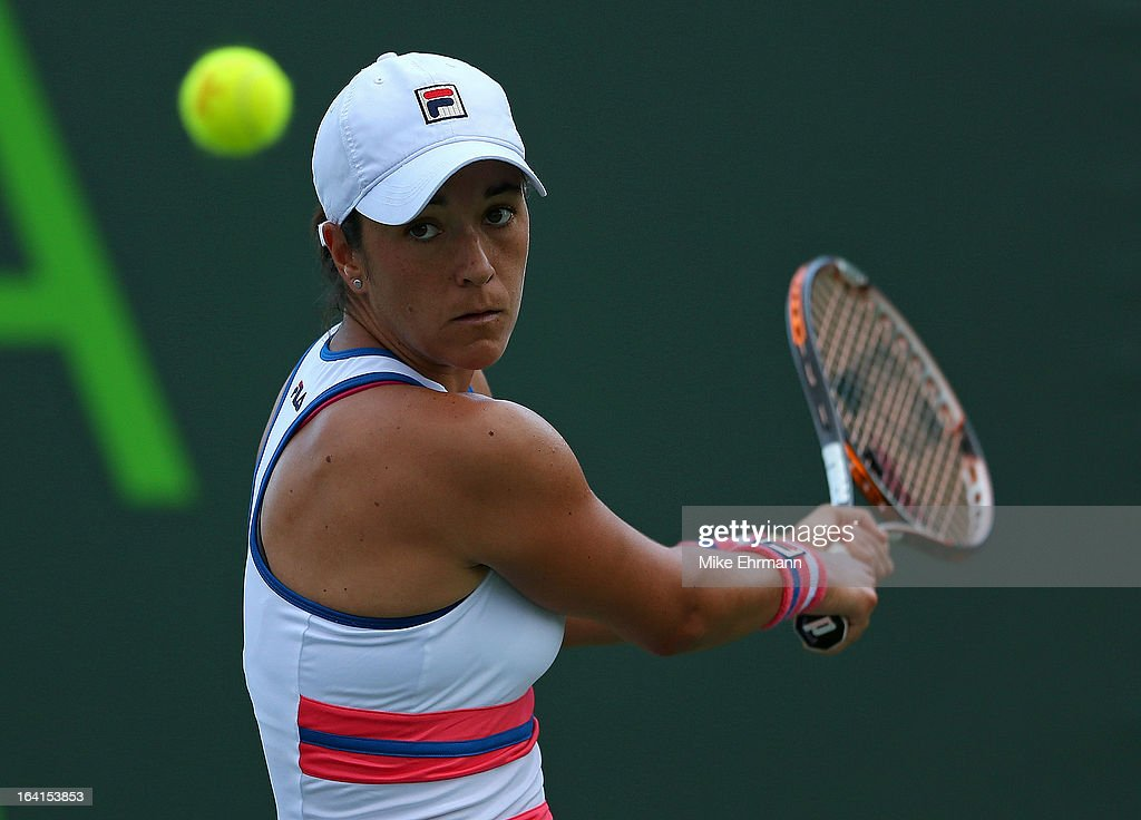Silvia Soler-Espinosa of Spain plays a match against Pauline Parmentier of France during Day 3 of the Sony Open at Crandon Park Tennis Center on March 20, 2013 in Key Biscayne, Florida.