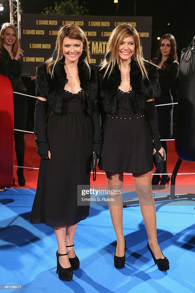 Silvia Squizzato and Laura Squizzato attend the 'Grudge Match' premiere at The Space Moderno on January 7 2014 in Rome Italy