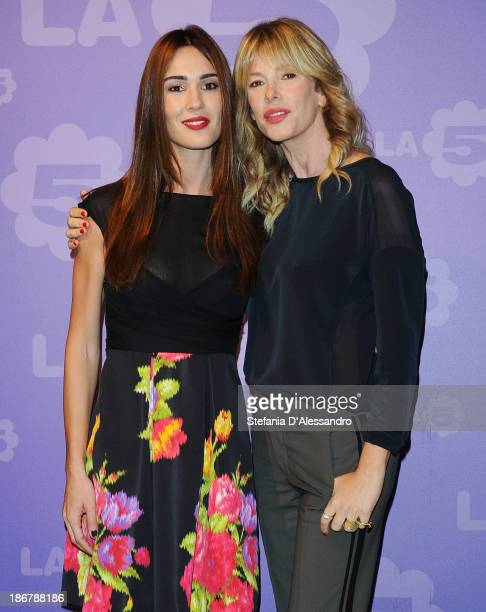 Silvia Toffanin and Alessia Marcuzzi attend Fashion Style TV Show Photocall on November 4 2013 in Milan Italy