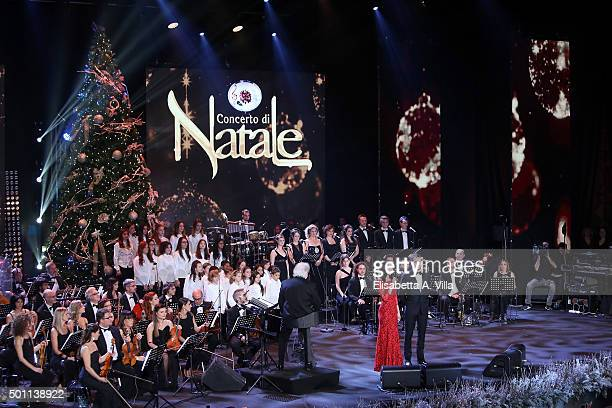 Silvia Toffanin and Alvis attend the 23rd Christmas Concert at Auditorium Conciliazione on December 12 2015 in Rome Italy