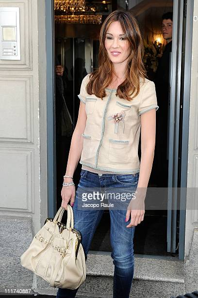 Silvia Toffanin is seen arriving at Tommy Hilfiger store on April 6 2011 in Milan Italy