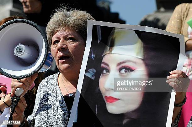 Silvia Vargas mother of Mexican murdered woman Maria Fernanda Rico takes part on October 19 2016 in Mexico City in a march in solidarity for the...