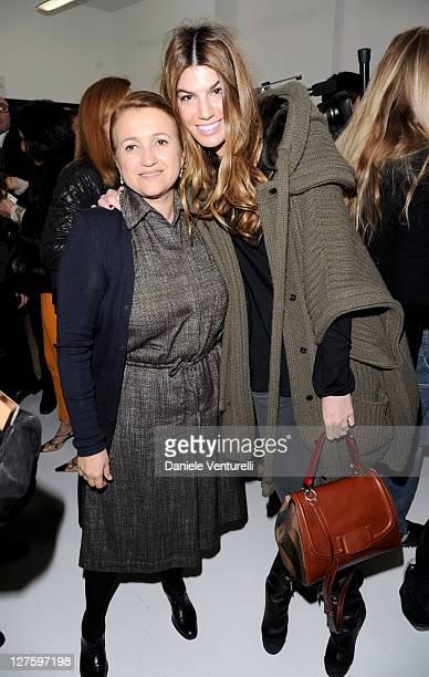 Silvia Venturini Fendi and Bianca Brandolini d'Adda attends the Fendi fashion show as part of on Milan Fashion Week Womenswear Autumn/Winter 2011 on...