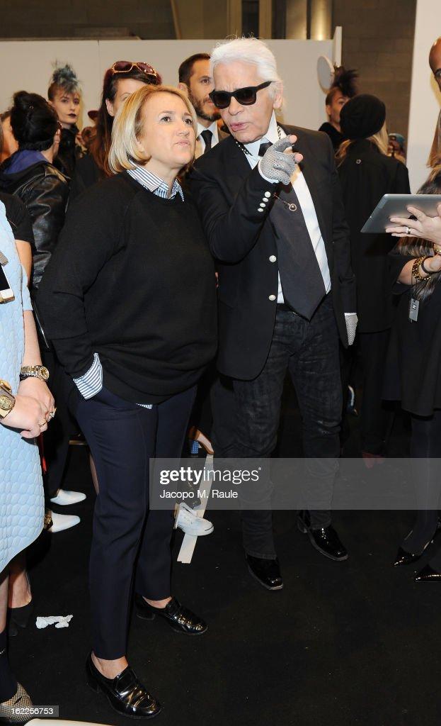 Silvia Venturini Fendi and Karl Lagerfeld attend the Fendi fashion show as part of Milan Fashion Week Womenswear Fall/Winter 2013/14 on February 21, 2013 in Milan, Italy.