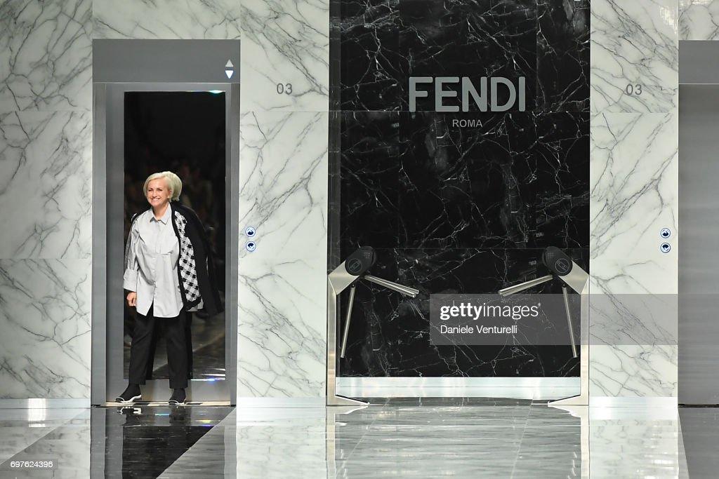 Silvia Venturini Fendi walks the runway at the Fendi show during Milan Men's Fashion Week Spring/Summer 2018 on June 19, 2017 in Milan, Italy.