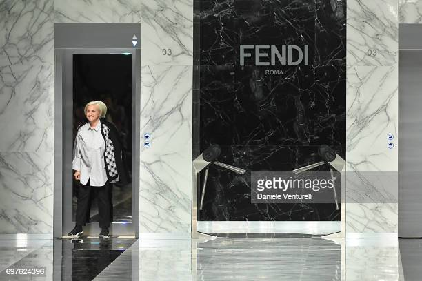 Silvia Venturini Fendi walks the runway at the Fendi show during Milan Men's Fashion Week Spring/Summer 2018 on June 19 2017 in Milan Italy