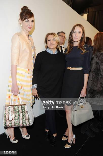 Silvia Venturini Louise Bourgoin and Ana Girardot attends the Fendi fashion show as part of Milan Fashion Week Womenswear Fall/Winter 2013/14 on...