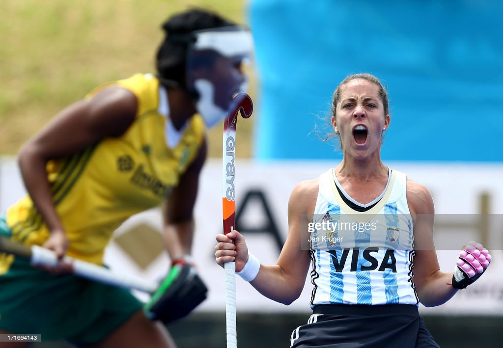 <a gi-track='captionPersonalityLinkClicked' href=/galleries/search?phrase=Silvina+D%27Elia&family=editorial&specificpeople=5970163 ng-click='$event.stopPropagation()'>Silvina D'Elia</a> of Argentina celebrates the opening goal during the Investec Hockey World League quarterfinal match between Argentina and South Africa at the Quintin Hogg Memorial Sports Grounds on June 27, 2013 in London, England.