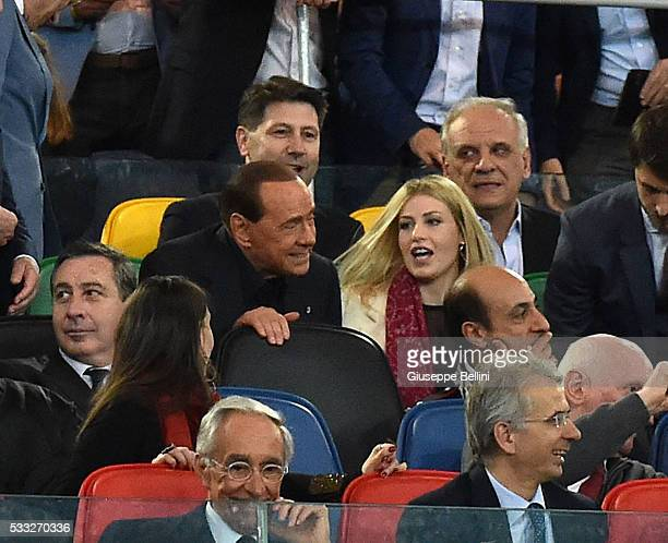 Silvio and Barbara Berlusconi of AC Milan prior the TIM Cup match between AC Milan and Juventus FC at Stadio Olimpico on May 21 2016 in Rome Italy