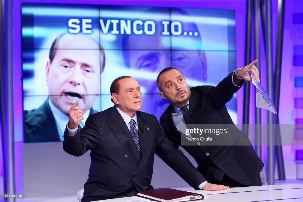 <a gi-track='captionPersonalityLinkClicked' href=/galleries/search?phrase=Silvio+Berlusconi&family=editorial&specificpeople=201842 ng-click='$event.stopPropagation()'>Silvio Berlusconi</a> (L) and TV conductor Franco Di Mare (R) attend 'Uno Mattina' Italian TV talk show on February 11, 2013 in Rome, Italy. The former Italian prime minister will lead his centre-right coalition during the Italian elections scheduled for February 24.
