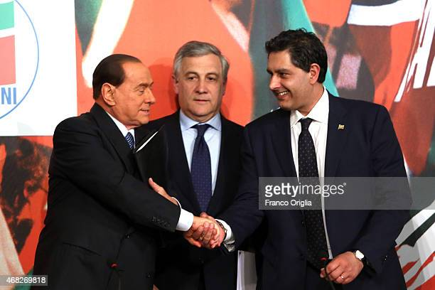 Silvio Berlusconi Antonio Tajani and Giovanni Toti attend a press conference to open the European electoral campaign of Berlusconi's party Forza...