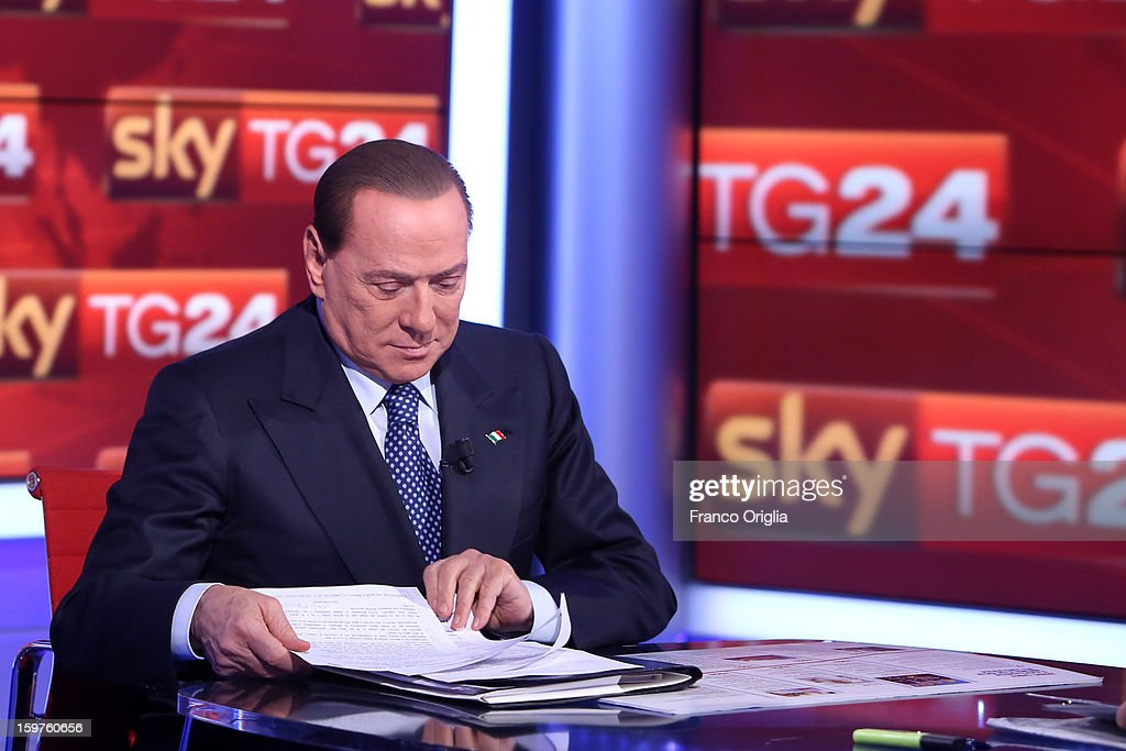 <a gi-track='captionPersonalityLinkClicked' href=/galleries/search?phrase=Silvio+Berlusconi&family=editorial&specificpeople=201842 ng-click='$event.stopPropagation()'>Silvio Berlusconi</a> appears on Sky TG24 on January 20, 2013 in Rome, Italy. The former Italian prime minister Berlusconi will lead his centre-right coalition during the Italian elections with a new alliance with the Northern League party. The court in Milan recently denied Berlsuconi's recent request to halt his trial for accusations of having sex with an under-age prostitute.