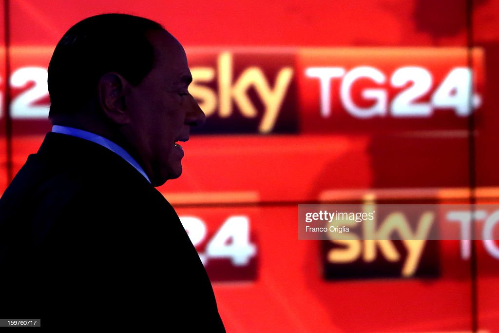<a gi-track='captionPersonalityLinkClicked' href=/galleries/search?phrase=Silvio+Berlusconi&family=editorial&specificpeople=201842 ng-click='$event.stopPropagation()'>Silvio Berlusconi</a> appears on Sky TG24 on January 20, 2013 in Rome, Italy. The former Italian prime minister Berlusconi will lead his centre-right coalition during the Italian elections with a new alliance with the Northern League party . The court in Milan recently denied Berlsuconi's recent request to halt his trial for accusations of having sex with an under-age prostitute.