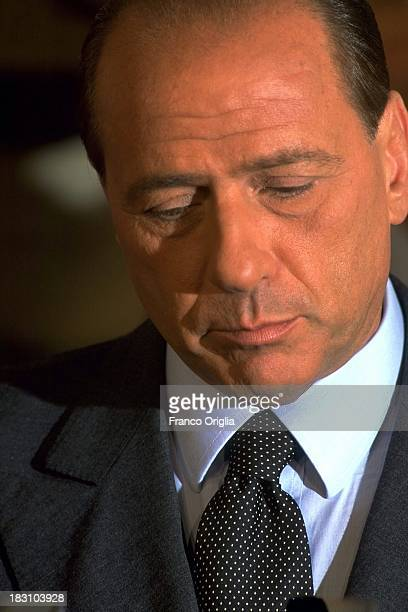 Silvio Berlusconi attends a centerright coalition rally for the general elections campaign in 1996 ca in Rome Italy