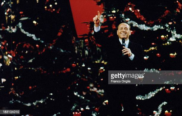 Silvio Berlusconi attends a Christmas party of his football team AC Milan on December 20 1993 in Milan Italy