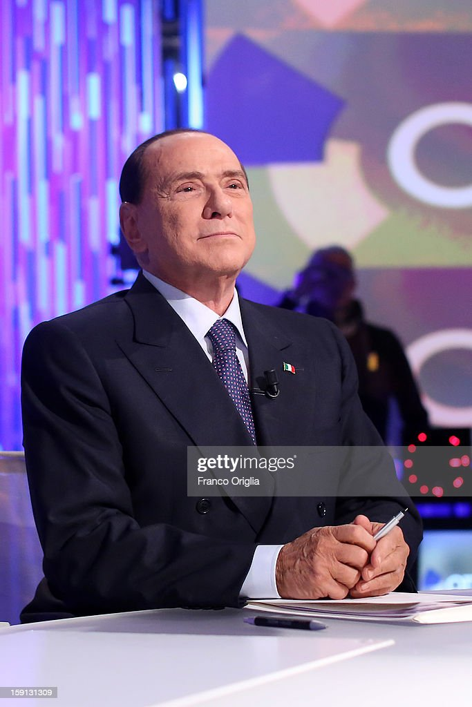 Silvio Berlusconi attends 'Otto e Mezzo' Italian TV show on January 8, 2013 in Rome, Italy. The former Italian prime minister Berlusconi will lead his centre-right coalition during the Italian elections with a new alliance with the Northern League party .