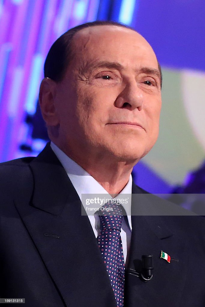 <a gi-track='captionPersonalityLinkClicked' href=/galleries/search?phrase=Silvio+Berlusconi&family=editorial&specificpeople=201842 ng-click='$event.stopPropagation()'>Silvio Berlusconi</a> attends 'Otto e Mezzo' Italian TV show on January 8, 2013 in Rome, Italy. The former Italian prime minister Berlusconi will lead his centre-right coalition during the Italian elections with a new alliance with the Northern League party .