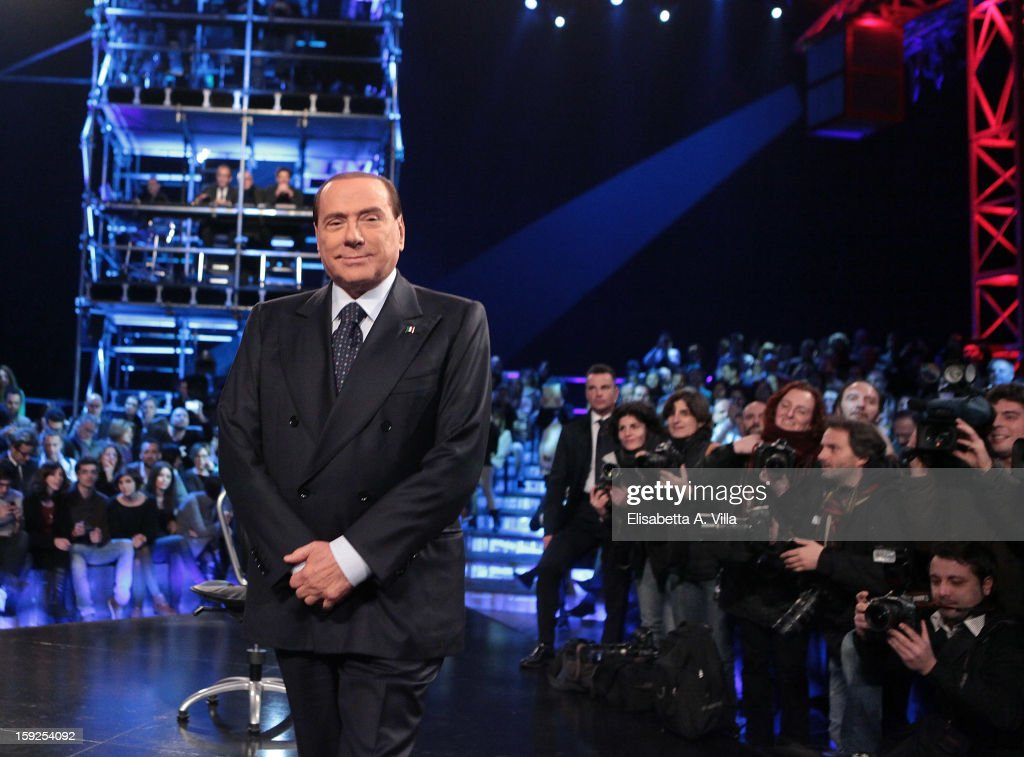 Silvio Berlusconi attends 'Servizio Pubblico' Italian TV Show at Cinecitta on January 10, 2013 in Rome, Italy.