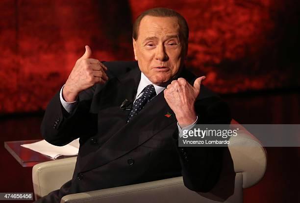 Silvio Berlusconi attends the 'Che Tempo Che Fa' TV Show on May 24 2015 in Milan Italy