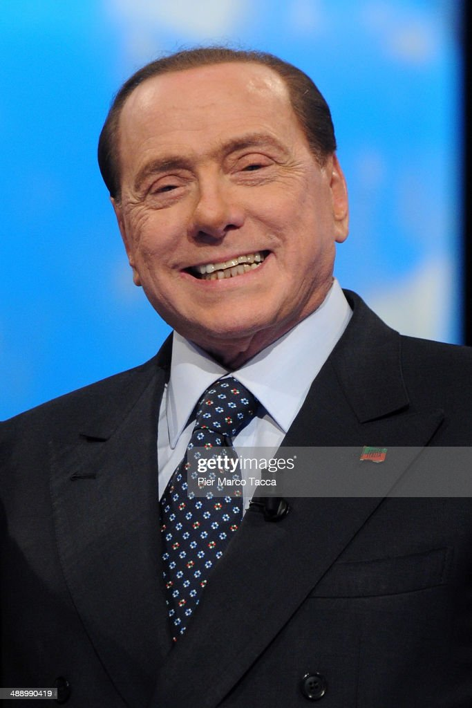 <a gi-track='captionPersonalityLinkClicked' href=/galleries/search?phrase=Silvio+Berlusconi&family=editorial&specificpeople=201842 ng-click='$event.stopPropagation()'>Silvio Berlusconi</a> attends the 'Iceberg' Tv show on May 9, 2014 in Milan, Italy. The former Italian Prime Minister appeared on the television show for an interview after starting his community service at a hospice for Alzheimer's patients.
