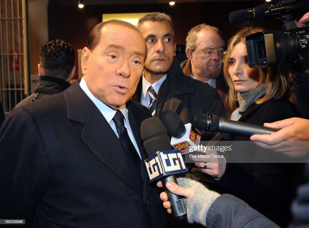 <a gi-track='captionPersonalityLinkClicked' href=/galleries/search?phrase=Silvio+Berlusconi&family=editorial&specificpeople=201842 ng-click='$event.stopPropagation()'>Silvio Berlusconi</a> attends the opening of 'Memoriale della Shoa' on International Holocaust Remembrance Day on January 27, 2013 in Milan, Italy. 'Memoriale della Shoa' is located at Platform 21 (Binario 21), which formed part of a secret underground rail network that transported hundreds of Jews to camps such as Auschwitz and Dachau, from1943 to 1945.