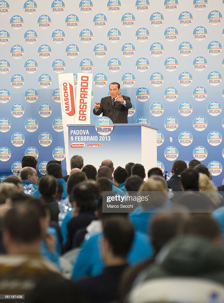 <a gi-track='captionPersonalityLinkClicked' href=/galleries/search?phrase=Silvio+Berlusconi&family=editorial&specificpeople=201842 ng-click='$event.stopPropagation()'>Silvio Berlusconi</a> campaigns in the Venice Province on February 9, 2013 in Venice, Italy. The former Italian prime minister will lead his centre-right coalition during the Italian elections scheduled for February 24.